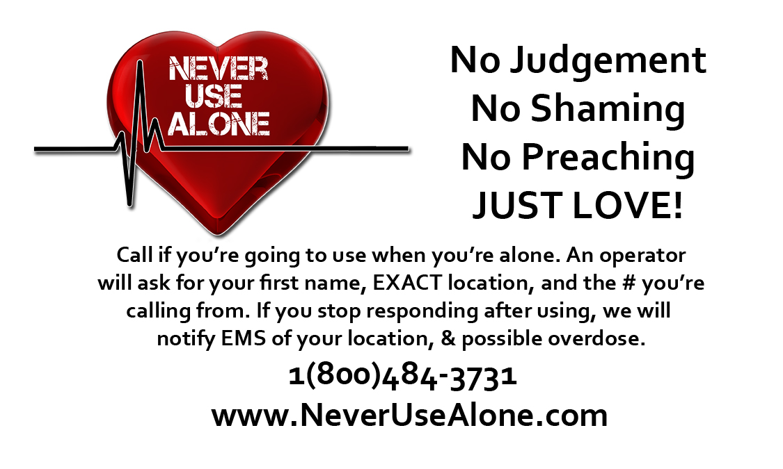 Never Use Alone Business Cards