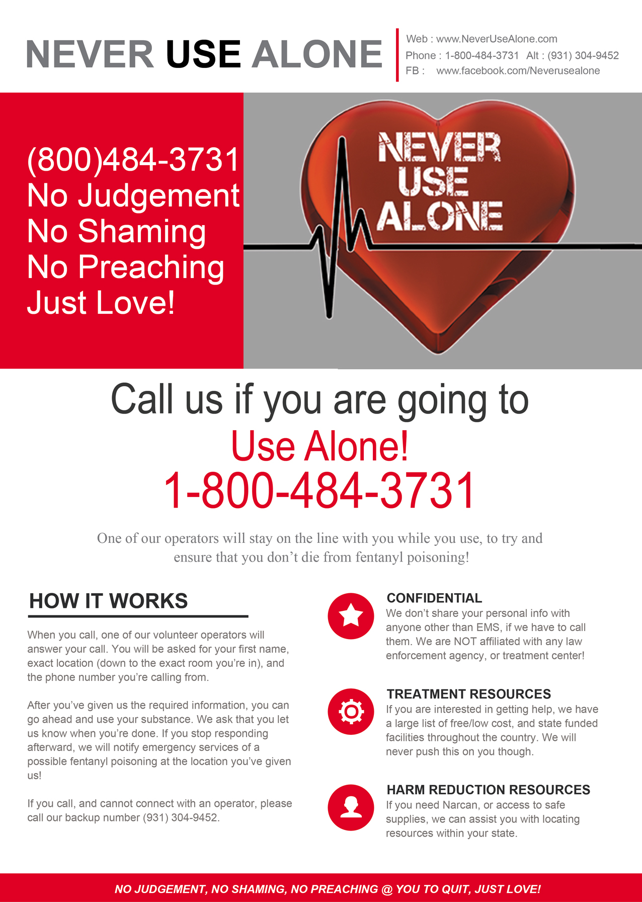 Never Use Alone Flyer